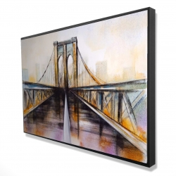 Framed 24 x 36 - 3D - Colorful brooklyn bridge