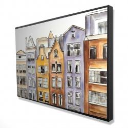 Framed 24 x 36 - 3D - Amsterdam houses hotel