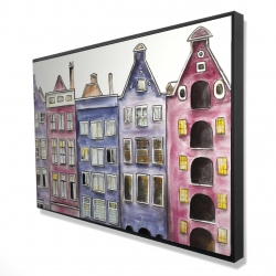 Framed 24 x 36 - 3D - Old historic houses amsterdam
