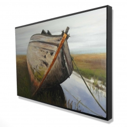 Framed 24 x 36 - 3D - Old abandoned boat in a swamp