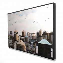 Framed 24 x 36 - 3D - Water towers with birds