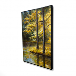 Framed 24 x 36 - 3D - Fall landscape by the water