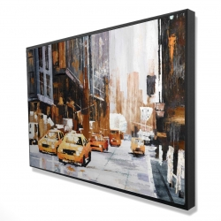 Framed 24 x 36 - 3D - Big city street with yellow taxi
