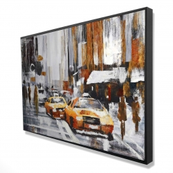 Framed 24 x 36 - 3D - Abstract citystreet with yellow taxis