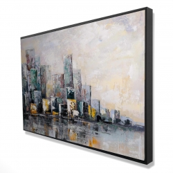 Framed 24 x 36 - 3D - Abstract cityscape in the morning
