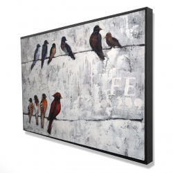 Framed 24 x 36 - 3D - Colorful birds on branches