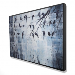 Framed 24 x 36 - 3D - Abstract birds on electric wire