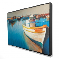 Framed 24 x 36 - 3D - Fishing boats at the marina