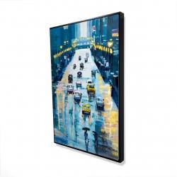 Framed 24 x 36 - 3D - Rainy streets of new york