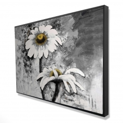 Framed 24 x 36 - 3D - Abstract daisies flowers