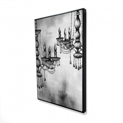 Framed 24 x 36 - 3D - Two crystal chandeliers