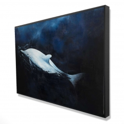 Framed 24 x 36 - 3D - Swimming dolphin