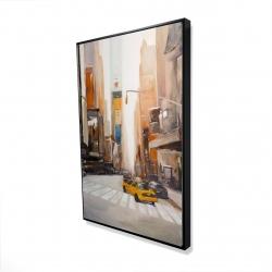 Framed 24 x 36 - 3D - Calm street with taxi