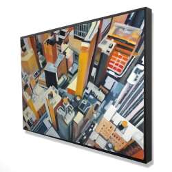 Framed 24 x 36 - 3D - High top view of buildings in new york