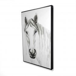 Framed 24 x 36 - 3D - Solitary white horse