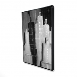 Framed 24 x 36 - 3D - Abstract black and white cityscape