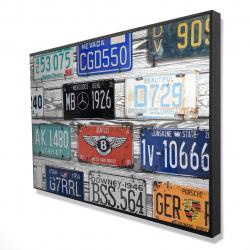 Encadré 24 x 36 - 3D - Plaques immatriculation vintage