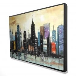 Framed 24 x 36 - 3D - Skyline on abstract cityscape