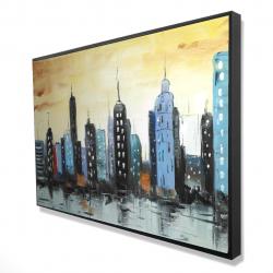 Framed 24 x 36 - 3D - Skyline on cityscape