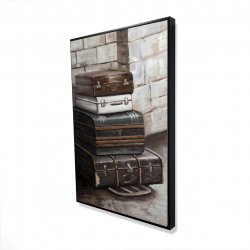 Framed 24 x 36 - 3D - Four old traveling suitcases