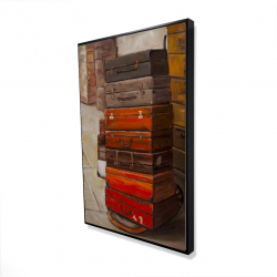 Framed 24 x 36 - 3D - Old traveling suitcases