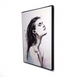 Framed 24 x 36 - 3D - Watercolor beautiful woman with dark hair