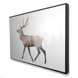 Framed 24 x 36 - 3D - Deer and forest