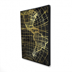 Framed 24 x 36 - 3D - Black and marine world map globe