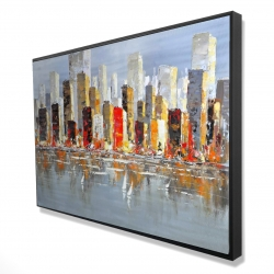 Framed 24 x 36 - 3D - Colorful buildings with water reflection