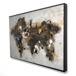 Framed 24 x 36 - 3D - Abstract world map with typography