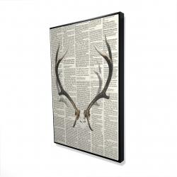 Framed 24 x 36 - 3D - Deer horns with newspaper background