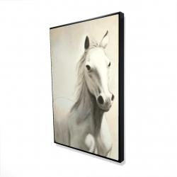 Framed 24 x 36 - 3D - Gallant white horse