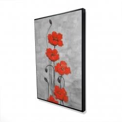 Framed 24 x 36 - 3D - Big red flowers