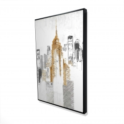 Framed 24 x 36 - 3D - Blurry sketch style cityscape