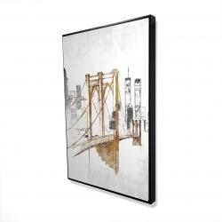 Framed 24 x 36 - 3D - Brooklyn bridge blurry sketch