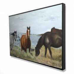 Framed 24 x 36 - 3D - Horses eating in the meadow