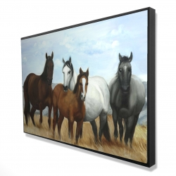 Framed 24 x 36 - 3D - Horses in the meadow by the sun