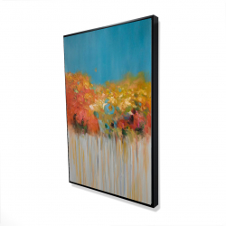 Framed 24 x 36 - 3D - Colorful abstract small flowers