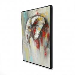 Encadré 24 x 36 - 3D - éléphant abstrait avec éclats de peinture