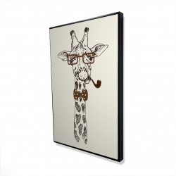 Framed 24 x 36 - 3D - Funny giraffe with a pipe