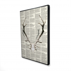 Framed 24 x 36 - 3D - Deer horns on newspaper