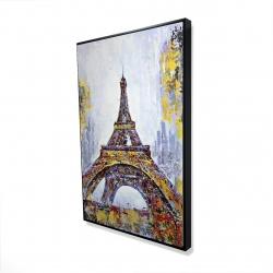 Encadré 24 x 36 - 3D - Tour eiffel abstraite avec éclats de peinture