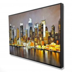 Framed 24 x 36 - 3D - Texturized skyscrapers by night