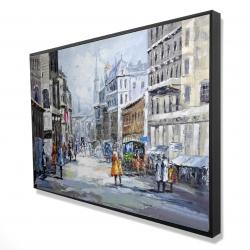 Encadré 24 x 36 - 3D - Rue achalandée par une journée nuageuse
