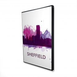 Framed 24 x 36 - 3D - Sheffield city color splash silhouette