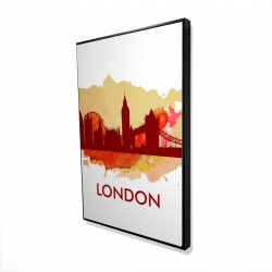 Framed 24 x 36 - 3D - Paint splash silhouette of london