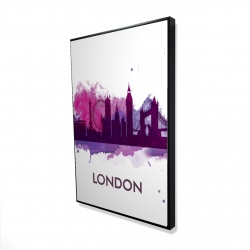 Framed 24 x 36 - 3D - Purple silhouette of london