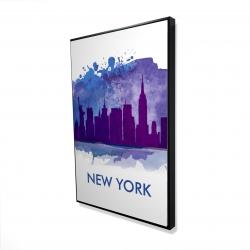 Framed 24 x 36 - 3D - Blue silhouette of new york city