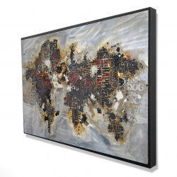 Framed 24 x 36 - 3D - Texturized world map with typography