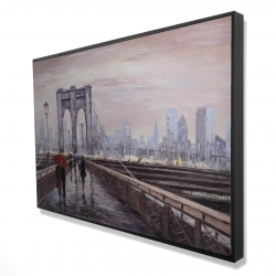 Framed 24 x 36 - 3D - Brooklyn bridge with passersby